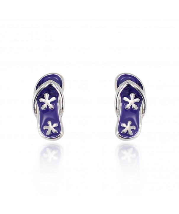 Sterling Silver Purple Flower Earrings