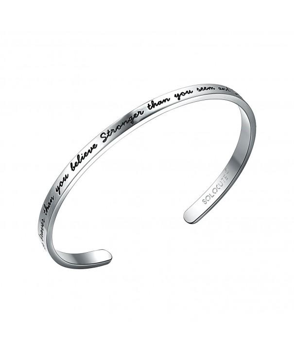 SOLOCUTE Bracelet Engraved Stronger Inspirational