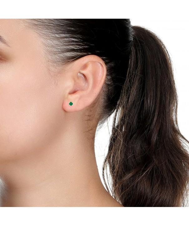 Round Green Emerald Yellow Earrings