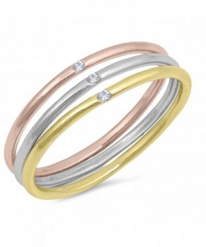 Gold Tone Clear Stackable Sterling Silver