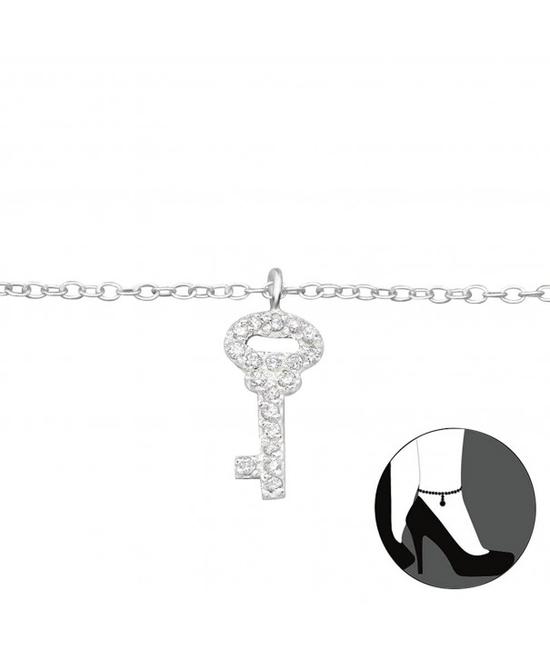 Atik Jewelry Silver Anklet Zirconia
