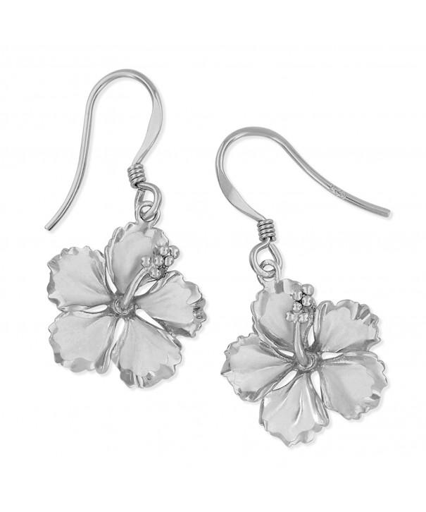 Sterling Silver Hibiscus Dangle Earrings