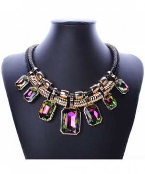 YAZILIND Colorful Pendant Statement Necklace