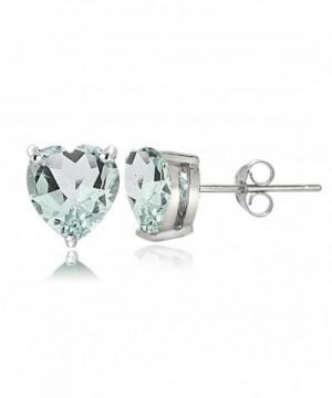 Sterling Silver Aquamarine Heart Earrings