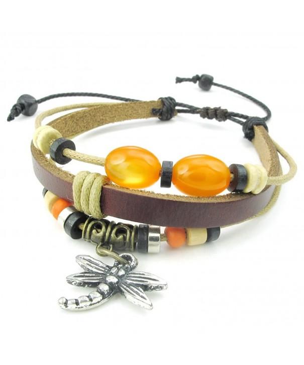 KONOV Leather Bracelet Dragonfly Adjustable