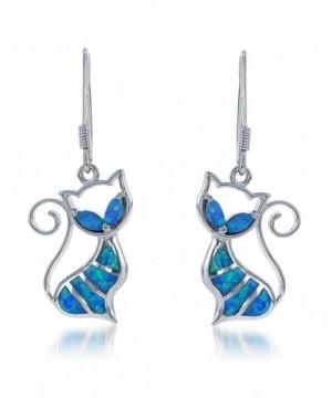 Sterling Silver Created Dangle Earrings