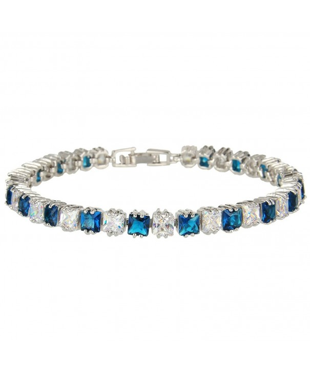 EVER FAITH Bracelet Sapphire Color Silver Tone