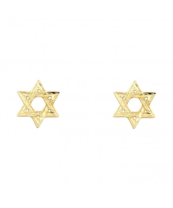 Yellow Gold Star David Earrings