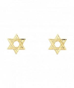 Yellow Gold Star David Earrings