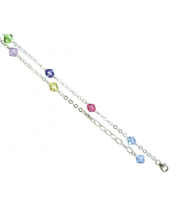 Multi color Crystals Sterling Silver Bracelet
