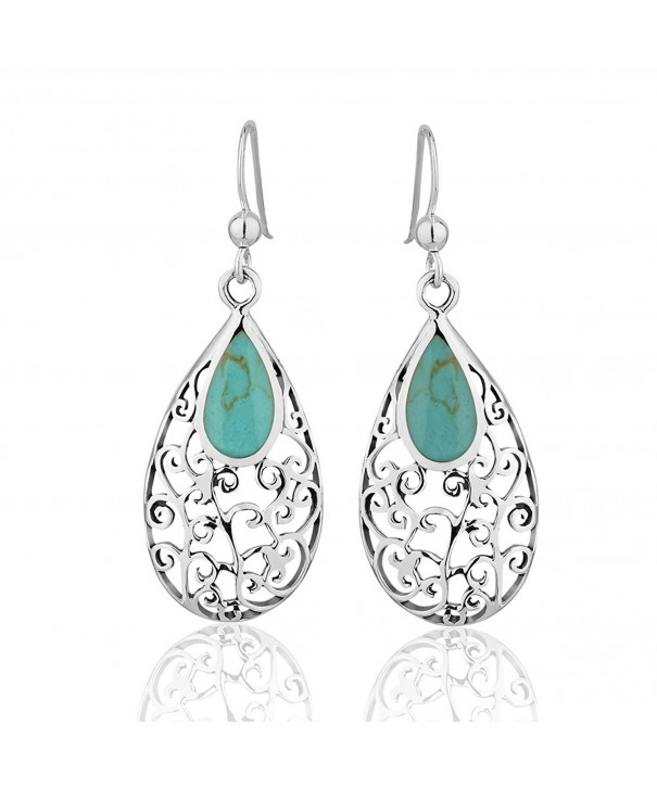Sterling Blue green Reconstructed Turquoise Gemstone