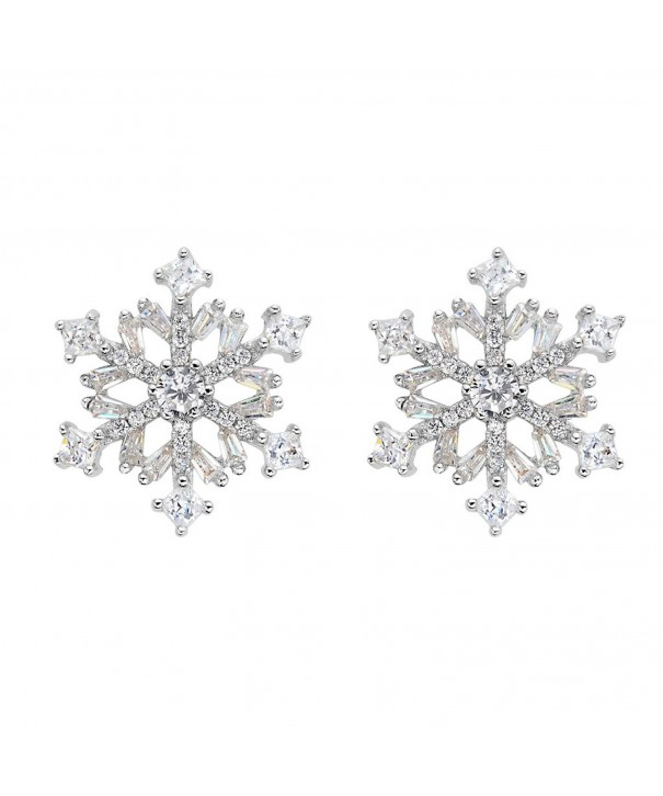 EVER FAITH Sterling Zirconia Snowflake