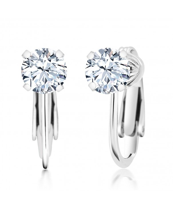 Round Zirconia Sterling Silver Earrings