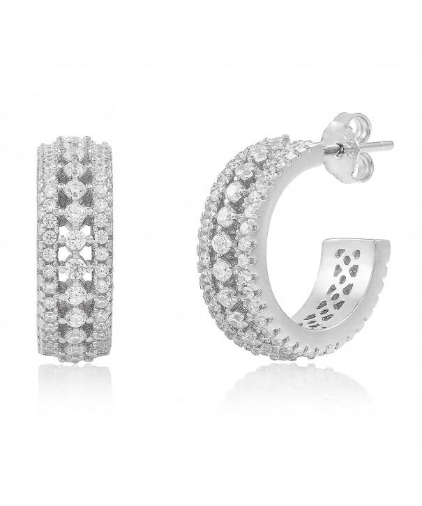 Rhodium Plated Sterling Zirconia Earrings