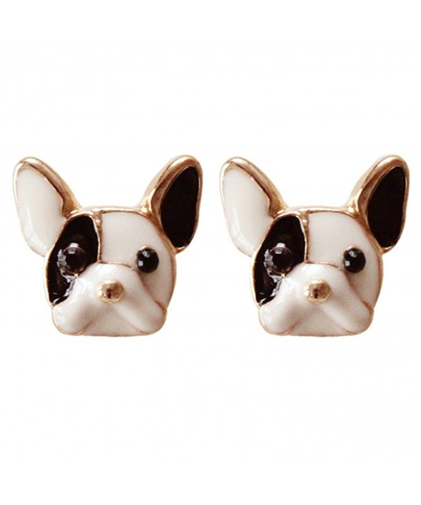 Plated Lovely Colored Bulldog Earrings