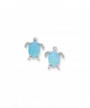Sterling Silver Created Turtle Earrings