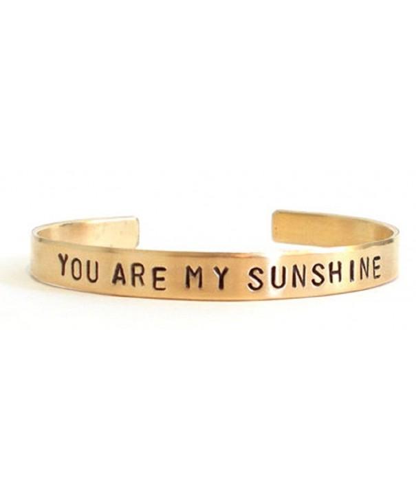 Hand stamped bracelet sunshine inspirational