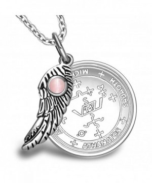 Archangel Michael Sigil Amulet Magic Powers Angel Wing Charm Pink Simulated  Cats Eye 22 Inch Necklace CL11UNTKTIN