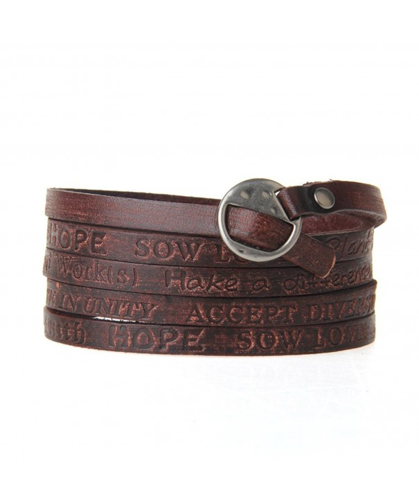 Jenia Engraved Leather Bracelet Multilayer