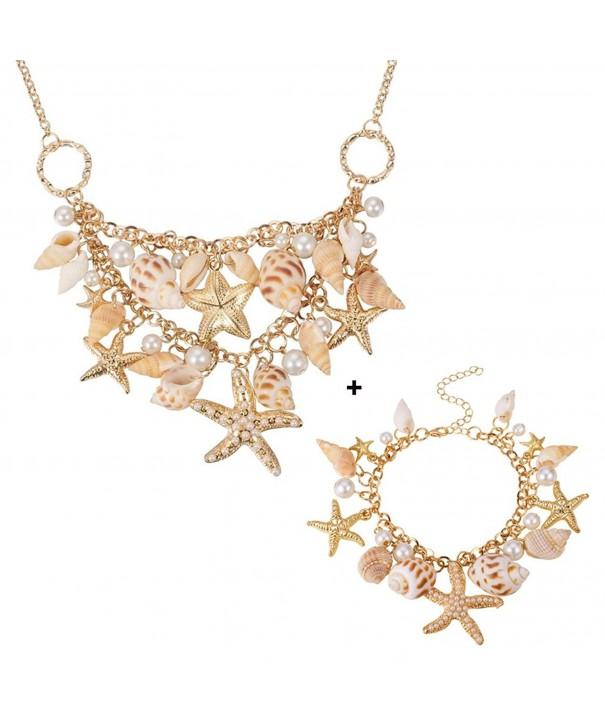 Pandahall Starfish Statement Necklace Bracelets