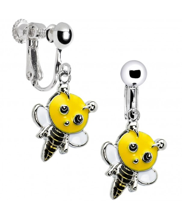Handcrafted Buzzing Bumble Clip Earrings