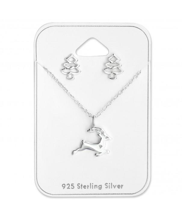 Sterling Reindeer Necklace Christmas Earrings
