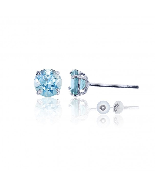 White 6 00mm Round Aquamarine Earring