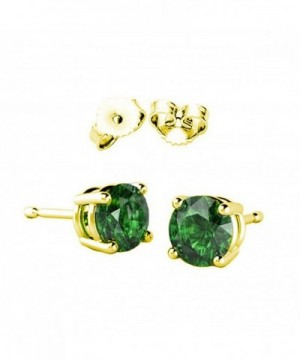 Solitaire Earring Simulated Emerald Sterling