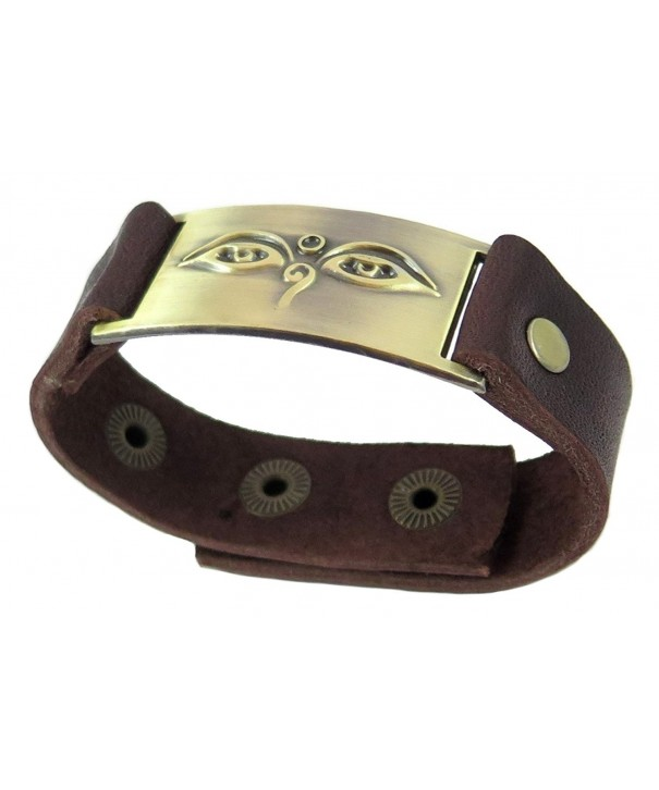 Buddha Eyes Bracelet Leather Adjustable