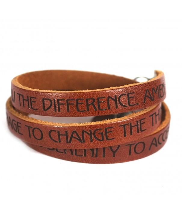Serenity Prayer Designer Leather Bracelet