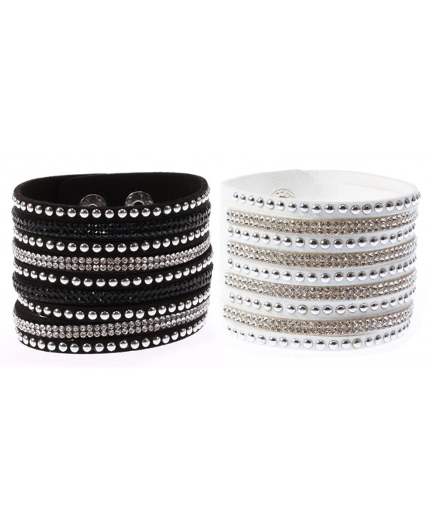 Finov Rhinestones Leather Wristband Bracelet