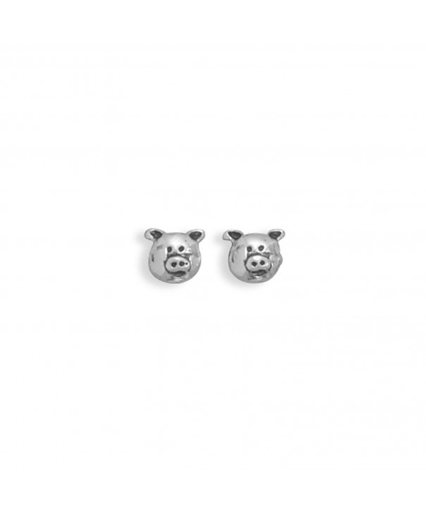 Piggy Face Earrings Sterling Silver