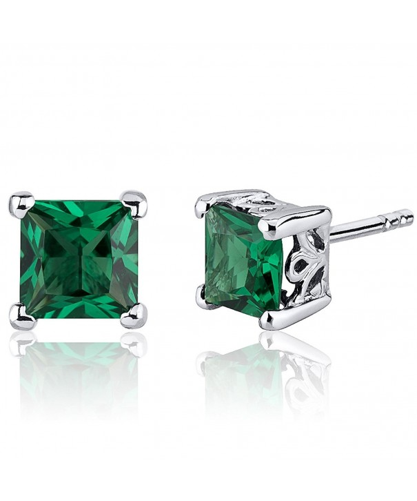 Simulated Emerald Princess Earrings Sterling