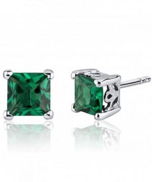 Simulated Emerald Princess Earrings Sterling