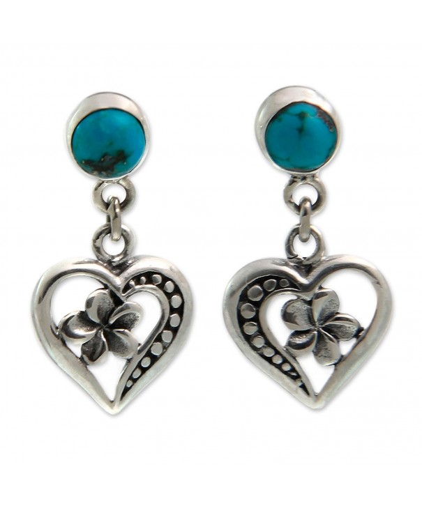 NOVICA Sterling Reconstituted Turquoise Frangipani