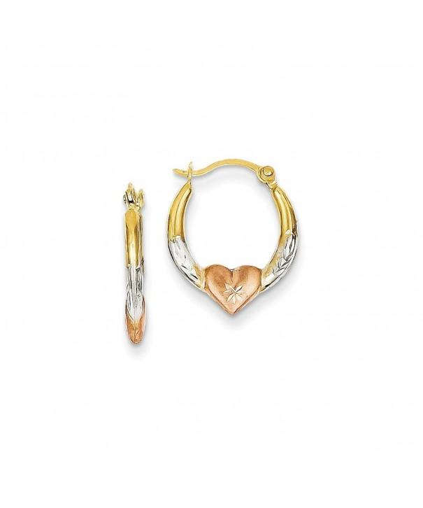 Gold White Rhodium Heart Earrings