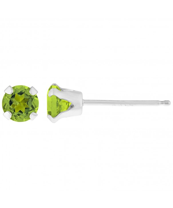 Round Green Peridot Birthstone Earrings