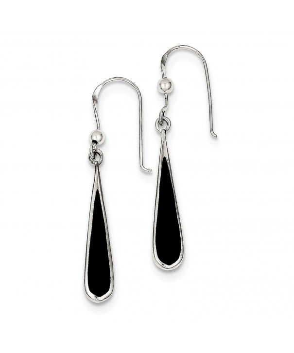 Solid Sterling Silver Black Earrings