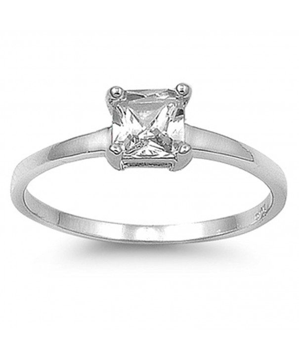 Square Clear Solitaire Sterling Silver