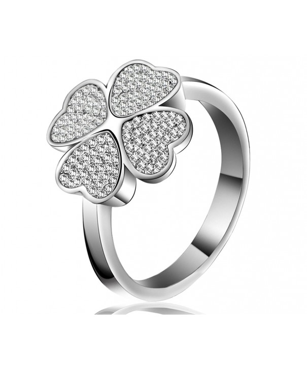 Lucky Dora Platinum Four leaf Zirconia