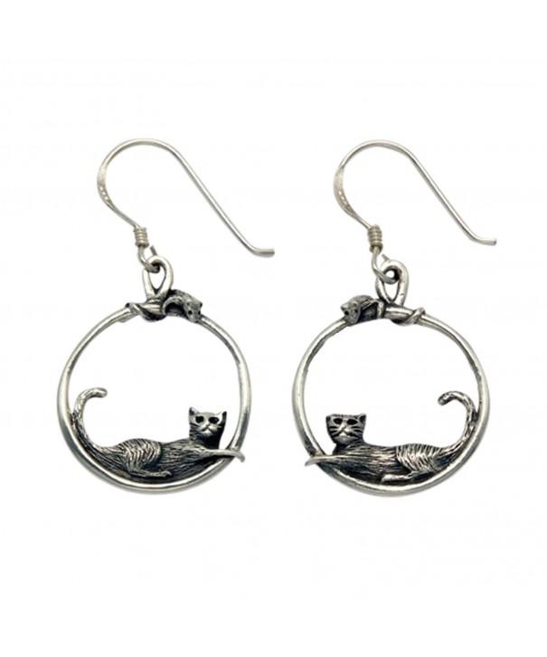 Sterling Silver Hoop Mouse Earrings
