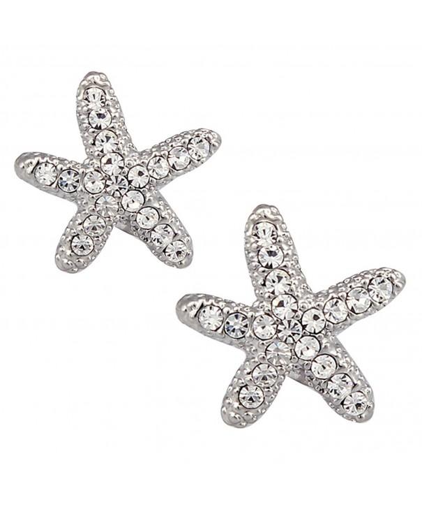 DUOKA Silver Crystal Starfish Earring