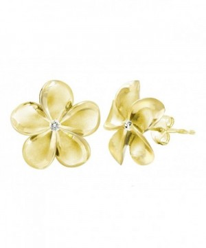 Yellow Plated Stering Plumeria Earrings
