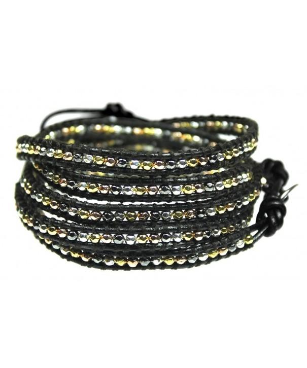Beautiful Silvertone Goldtone Leather Bracelet