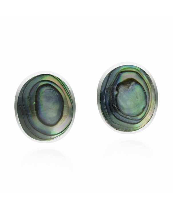 Circular Abalone Sterling Silver Earrings