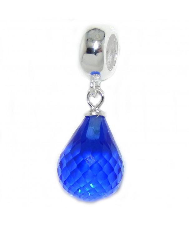 Sterling Silver Dangling Teardrop Crystal