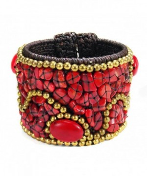 Tribal Cotton Reconstructed Coral Bracelet