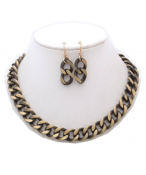 StyleNo1 FASHIONABLE BURNISHED NECKLACE EARRINGS
