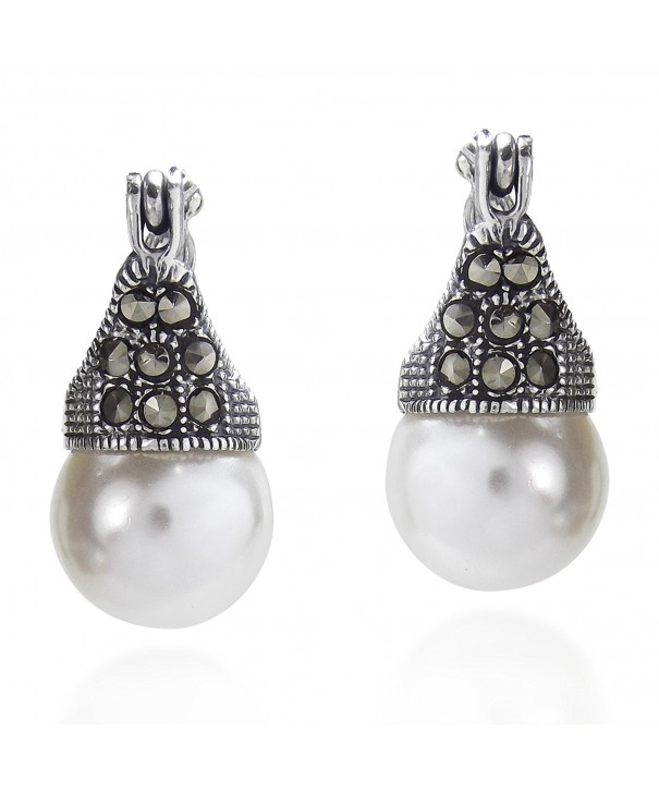Marcasite Cultured Freshwater Sterling Earrings