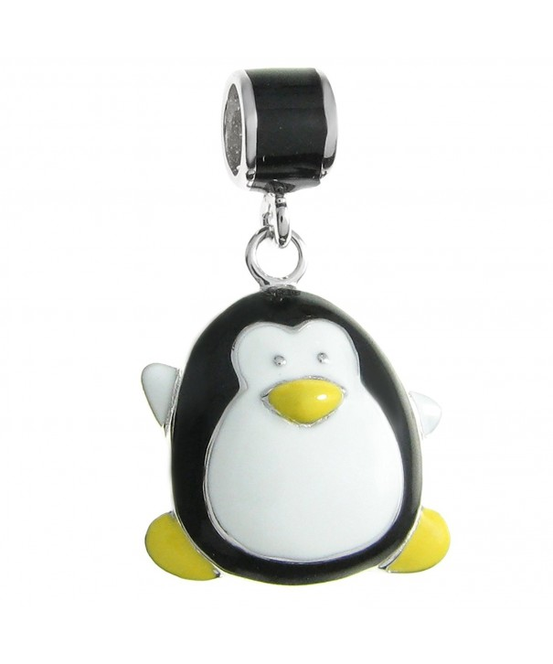 Rhodium plated Sterling Silver Penguin European